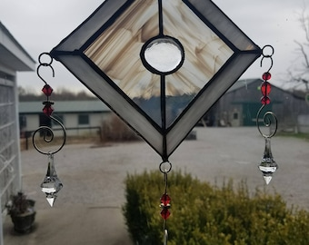 Stained Glass Sun Catcher with decorative hangers and jewels