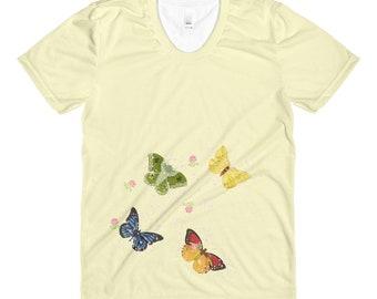 T-Shirt - Ladies Sizes - Butterflies Sublimation women's crew neck t-shirt