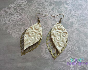 Handmade ° ° ° ° Brown nature leaf earrings