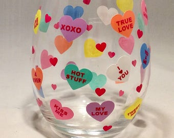 Valentine Stemless Wine Glass, Candy Hearts, Valentine's Day, Valentine Gift, Wine Glass, Girlfriend, Boyfriend, Sweetheart, Wife, Husband