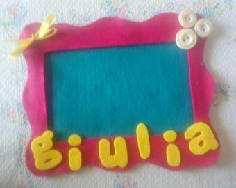 Custom felt frame with name