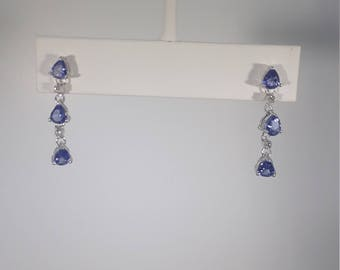 Tanzanite and White Topaz Chandelier Earrings