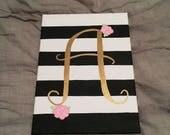Custom Striped Monogram Canvas for Arleigh