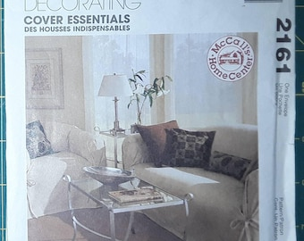 McCalls Sofa Chair Slipcovers Pillows Sewing Pattern 2161 Home Decorating Cover Essentials UNCUT