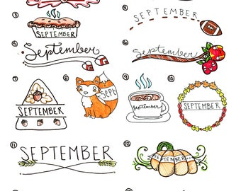 Colored Fall themed Headers and Icons, Bullet Journal Printables