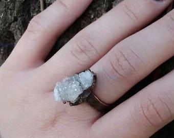 Druzy quartz electroformed ring