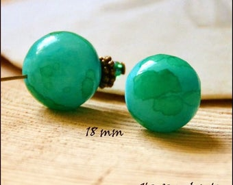 2 Agate beads dyed round 18 mm blue green color