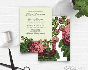 Rustic Wedding Invitation Garden Wedding Printable Invite Outdoor Wedding Floral Wedding Flower Hollyhock Wedding Invites Template Back Side