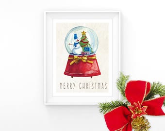 Merry Christmas Print Christmas Snow Globe Art Printable Xmas Decor Kids Wall Art Snowman Christmas Tree Print Winter Decor Digital Download