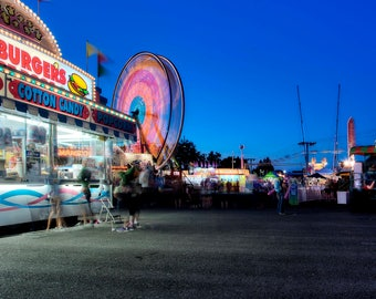 Carnival photography, Carnival photo, Amusement park, Ferris wheel photo, home decor, Panoramic photo, Instant download