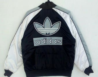 Adidas Button Up Jacket  Big Logo Spell Out Multicolour Design