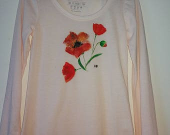 "hand painted  shirt ""Poppy"""