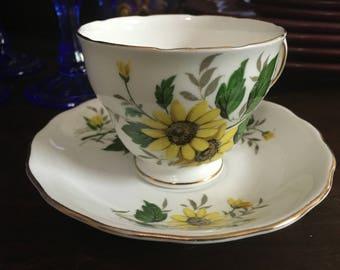 Royal Vale Bone China English Daisies Tea Cup and Saucer