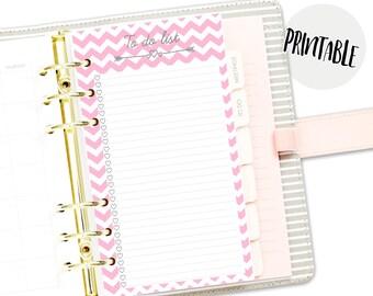 Printable Digital Pink To do list PDF, planner insert, filofax personal, kikki k medium, printable, Instant Download, bullet journal