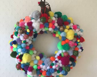 Colourful Pom Pom Christmas Wreath