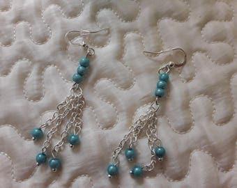 Blue beads dangling earrings