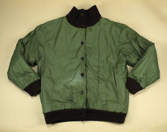 1970's Funky Panel Jacket REVERSIBLE!  Army jacket, leather & suede panel detail.  Made in Italy.