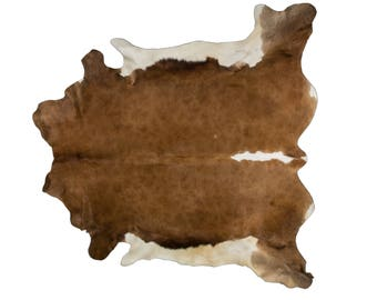 "Superior European Natural Cowhide Rug, Hair-On-Hide Genuine Bovine Leather,Hand Tanned in Europe, Superior Quality, Brown White, 5'0"" x 5'7"""