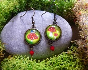"""Earrings """"Mushrooms"""" mini paintings cabochons, mushroom, snail, antiqued bronze"""