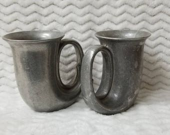 Pewter Drinking Mugs, Tavern Mugs two piece set