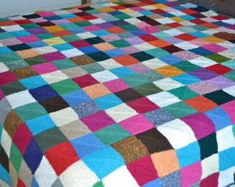 Hand-knitted blanket, multi colored, approx. 1,80 x 2,00 m