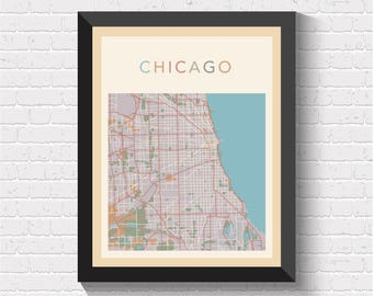 Chicago Map, Chicago City Map, Chicago Street Map, Chicago Poster, Chicago Art, Chicago Map Print, Illinois Art, Illinois Print, US, USA