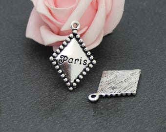 """x 4 charms Rhombus """"PARIS"""" in silvery metal aged 21 x 30 mm BR654"""