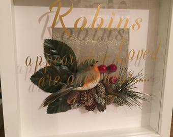 Handmade remembrance robin picture gift 3d box frame