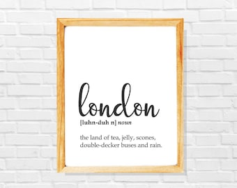 London print, London sign, London poster, London gift, Modern city printable, Black and white minimalist city poster, Modern london wall art