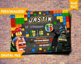 Lego Batman Invitation, Lego Party, Lego Superheroes birthday invitation, Lego Movie instant download, Lego Invitation, Lego DIY