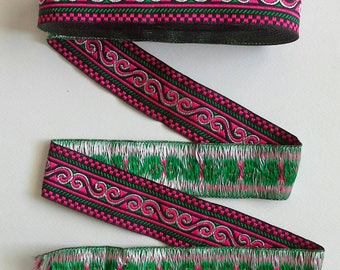 Pink  Borders , Hand Embroidered Hmong Fabric, Hmong Fabric Hill Tribe, Thai Hill Tribe, Hmong Textile, Hill Tribe Handmade.
