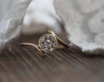 Size 7.5 Diamond Ring, Yellow Gold, Engagement