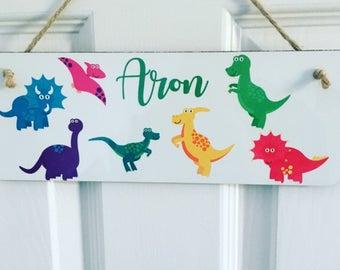 Boys\u0027 personalised hanging door plaque dinosaur door sign dinosaur door plaque boy\u0027s
