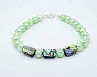 Freshwater cultured mint green pearl and Abalone beaded bracelet