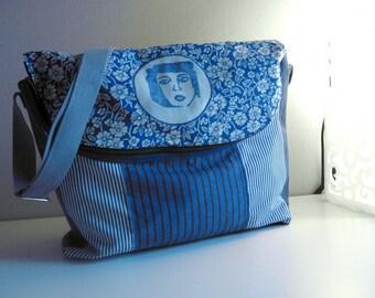 Textile printing, stripes and blue flowers, shoulder bag