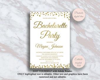 Editable Bachelorette Party Invitation Template, Bachelorette Party  Invitations, Gold Bachelorette Invite, Digital Invitation