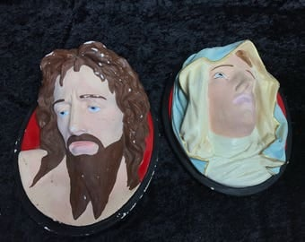 Jesus & Mary Plaster Portraits Vintage Religious Antique