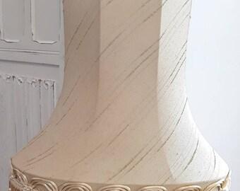 Unique original Vintage gold oval tassel fringe table lampshade.