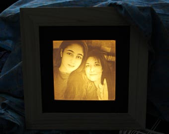 Personalised square Lithophane picture - With LED Lamp to Light the Picture - Unique gift