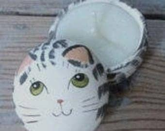 Merryfield Pottery - Grey Tabby Cat Candle Pot