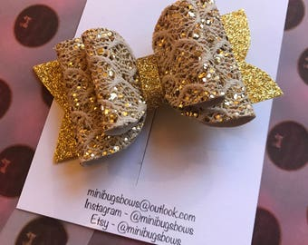 hair bows, hair clips, hair accessories, baby headbands, glitter bows, all handmade, pretty gold 4 inch bow
