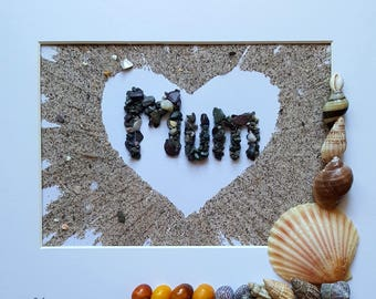 Cornish Pebble Art Picture Mum Mothers Day Love Heart Unique Handmade Gift Present