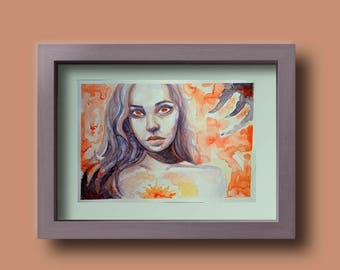 Fire Eyes Watercolour Painting Portrait of a Woman Original // A4 painting // Illustration