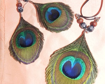 Set earrings and necklace in Peacock feather