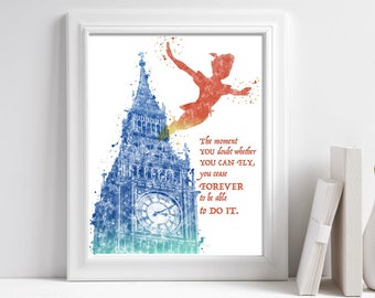 Printable Peter Pan Quote, You Can Fly Watercolor Quote Wall Art, Kids Book Art Print, Printable quotes about life