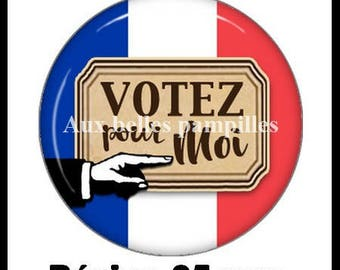 Round cabochon resin 25 mm - paste vote for me (1979) - Election, president