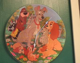 Lady and the tramp disney vinyl record wall clock 2 choices of picture