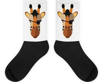 Pirate Giraffe Socks - Warm Comfy Evil Giraffe with Eye Patch Pair of Socks