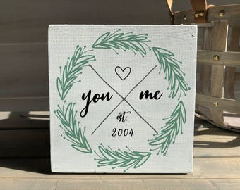Valentine's Day decor-valentine's day gift-wedding gift-anniversary gift-personalized sign-wood sign-wreath sign-personalized gift