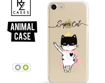 Cat Phone Case, Cute Cat Phone Case, Cartoon, Super Cat, iPhone 7, Animal Case, Cat Lover, Gift for Her, iPhone 7 Plus, iPhone 6S, Samsung
